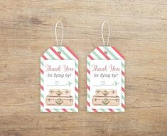 Mint green and coral travel themed favor tags suitable for all kinds of occasions and events: baby shower, sprinkle, airplane birthday, airline wedding / bridal shower, etc. INSTANT DOWNLOAD!  You will receive TWO standard letter size non-editable PDFs with the tags in two sizes:  - 1.7 x 3 inches - Baby Shower Signs, Baby Shower Favors, Bridal Shower, Baby Shower Printables, Party Printables, Airplane Baby Shower, Purple Elephant, Guest Gifts, Elephant Design