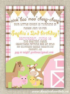 Barnyard Birthday Invitation. Pink Girl Farm Birthday. Print-It-Yourself.. $10.00, via Etsy.