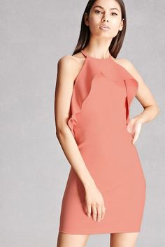 A stretch knit mini dress featuring a halter neckline, circular flounce layer, bodycon silhouette, and a concealed back zipper. This is an independent brand and not a Forever 21 branded item.