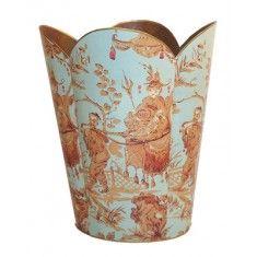 Aqua Asian Toile Decoupage Wastebasket and Optional Tissue Box