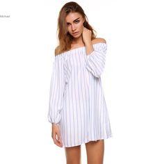 Ladies Women summer chifon dress Sexy leisure dress Off-shoulder Slash Neck Stripe Long Sleeve Casual white Loose Mini Dress