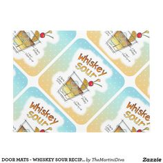 DOOR MATS - WHISKEY SOUR RECIPE COCKTAIL ART DOORMAT