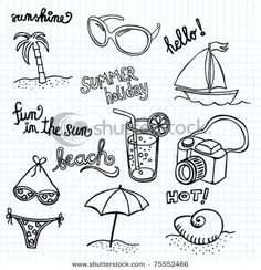 Beach Doodles - stock vector