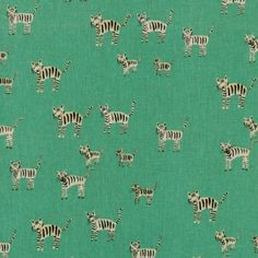 Cotton + Steel Tigers Cotton Canvas by Alexia Abegg - Yard - Hat Box - - Cotton - Green Fabric - Tiger Fabric - Canvas Fabric Textiles, Textile Patterns, Canvas Fabric, Cotton Canvas, Cotton Linen, Conversational Prints, Tiger Stripes, Racing Stripes, Mint