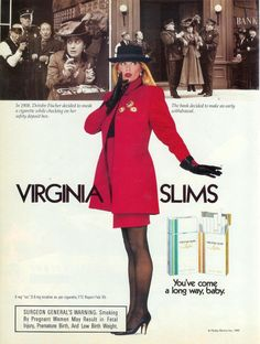 Although I don't condone smoking, the vintage Virginia Slims ads featured some great leather gloves! Vintage Advertising Signs, Vintage Signs, Vintage Advertisements, Vintage Ads, Vintage Stuff, Vintage Posters, 80s Ads, Retro Ads, Kelly Emberg