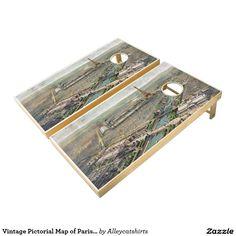Vintage Pictorial Map of Paris (1900) Cornhole Set