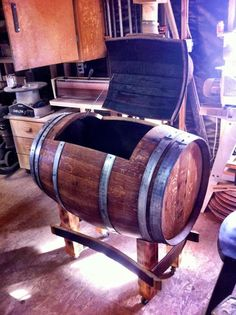 Drink cooler for next BBQ! Pirate Bedroom, Ice Chest Cooler, Wine Barrel Furniture, Whiskey Barrels, Bar Stuff, Outdoor Living, Outdoor Decor, Table Storage, Back Patio