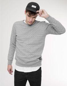 Pull&Bear - man - sweatshirts - long sleeve printed sweatshirt - pale marl - 05591512-I2015