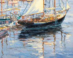 Ken Oehmig, Camden (Maine) Waterfront  Gorgeous painting at a lovely gallery in Wiscasset, Maine