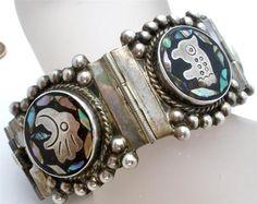 Vintage Sterling Silver Fan Far Bracelet Inlay Abalone Shell Mexico Signed | eBay