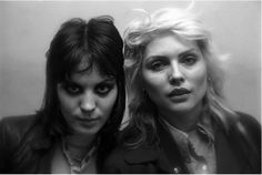 Joan Jett and Debbie Harry backstage at the Tower Theater in Philadelphia, PA at a gig featuring The Runaways, The Ramones and The Jam by Scott Weiner, 1978.