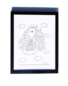 Fineliner – Drawing handmade 20x30cm: Angel in the sky – a unique product by ARTandCAT on DaWanda