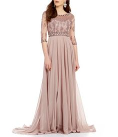 Terani Couture Illusion Sweetheart Neck 3/4 Sleeve Beaded Chiffon Gown #Dillards