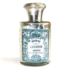 Lavende Perfume BottleSize: H: 14 cm, D: cm, W: cm, Weight: 363 g. Made in India.An ornate gilt metal and cut glass is beautifully finished with some fading which that shabby chic look.Inspired by the Beautiful Era (Belle Époque) in France or . Shabby Chic Interiors, Shop Interiors, Shabby Chic Homes, Old Bottles, Perfume Bottles, Objets Antiques, Bottle House, Cosmetic Bottles, Vintage Display