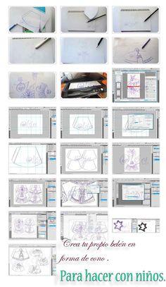 tutorial para hacer un belén con forma de cono usando Photoshop e Illustrator.eltocadordecenicienta