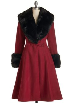 Bundled in Bliss Coat. Cozying up in the chic A-line silhouette of this brick-red coat is a pure joy! #red #modcloth