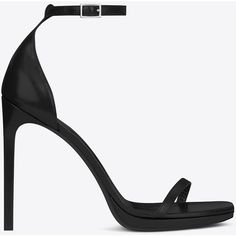 Saint Laurent Classic Jane Ankle Strap 105 Sandal ($565) ❤ liked on Polyvore featuring shoes, sandals, heels, black sandals, saint laurent, ankle strap sandals, heeled sandals, platform sandals and black high heel shoes
