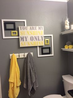 Yellow and Grey Bathroom. Not sure on the grey, maybe something lighter.