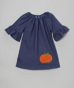 A Little Annafaith Denim Pumpkin Peasant Dress - Infant, Toddler & Girls on zulily today!