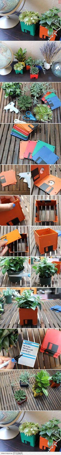 Eski Disketlerden Minyatür Saksı Yapmak