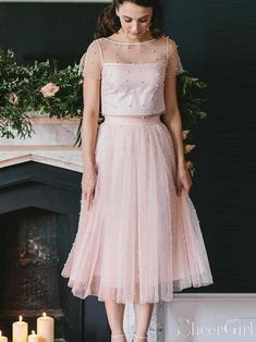 6b8cea60335c Blush Pink Two Piece Bridesmaid Dresses Beaded Formal Gowns ARD2354 –  SheerGirl