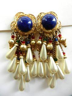Large dangling princely earrings  Earrings 1970 by RAKcreations, $50.00