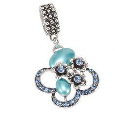 Flower Stone Pendant Scarf Jewelry Blue