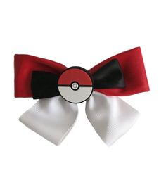 Pokemon Pokeball  Clip on Hair Bow  Cosplay Bow Tie Licensed NWT #Nintendo