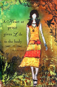 A Heart At Peace Inspirational Christian Artwork With Bible Verse Mixed Media by Janelle Nichol
