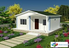 small cottage 2 bedroom house plan mobile home granny flat Prefab Buildings, 2 Bedroom House Plans, Granny Flat, Farmhouse Plans, Mobile Home, Glamping, Ankara, Architecture Design, Cottage