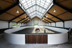 Indoor arena with ridge skylight