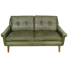 Mid-Century Modern Green Leather Loveseat by Skippers Mobler Green Leather Sofa, Leather Loveseat, North Hollywood, Mid-century Modern, Love Seat, Upholstery, Mid Century, Cushions, Couch