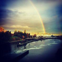 Ballard Locks with beautiful rainbow in Seattle, WA