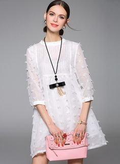 White Casual A-line Appliqued Plain Mini Dress Cheap Dresses, Girls Dresses, White Evening Gowns, Casual Formal Dresses, Little White Dresses, Sweet Dress, White Casual, Madame, Blouses For Women