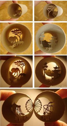 Toilet Paper Roll Art, Rolled Paper Art, Toilet Paper Roll Crafts, Africa Craft, Paper Mobile, Shadow Box Art, Paper Toys, Crafts To Do, Paper Cutting