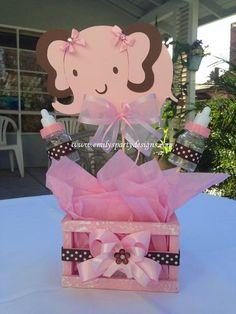 Baby Elephant Baby Shower Centerpiece by designsbyemilys on Etsy https://www.etsy.com/listing/176365213/baby-elephant-baby-shower-centerpiece