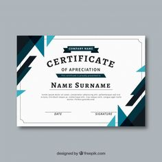 Certificate template with flat and colorful shapes Free Vector Certificate Of Recognition Template, Certificate Layout, Certificate Background, Certificate Design Template, Make Business Cards, Certificate Of Appreciation, Powerpoint Design Templates, Industrial Design Sketch, Brochure Design
