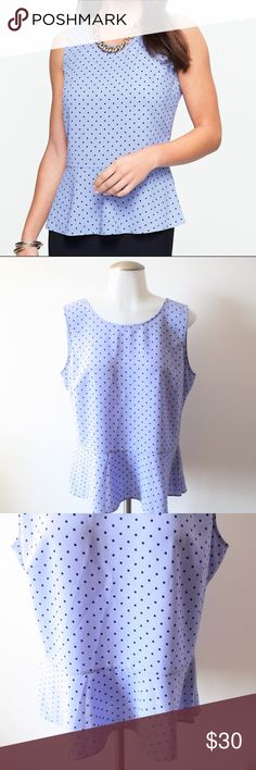 Size 10 Talbots Blue Polka Dot Peplum Top Size 10 Talbots Blue Polka Dot Peplum Top - In like new condition - Gorgeous shade of blue that gives off a nice pop of fashion! This top does have a side zipper (not noticeable). Perfect for any day of the week! Bust from underarm to underarm 19.5 inches / Length from underarm down 14.5 inches. 100% Polyester. Talbots Tops Blouses