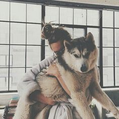 Man and a husky cute! Cute Puppies, Cute Dogs, Dogs And Puppies, Doggies, I Love Dogs, Puppy Love, Mans Best Friend, Best Friends, Baby Animals
