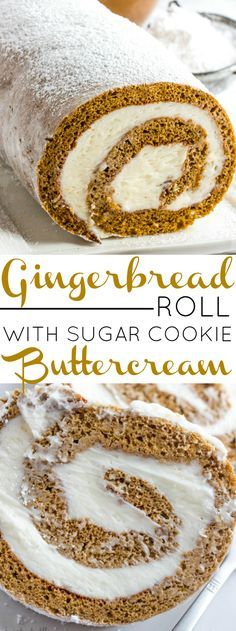 Delight in the Holiday season with this Gingerbread Roll with Sugar Cookie Buttercream. A delicious twist on a traditional treat that the whole family will enjoy. AD This sounds amazing Holiday Cakes, Holiday Baking, Christmas Desserts, Christmas Baking, Italian Christmas, Christmas Yule Log, Xmas Cakes, Mini Desserts, Just Desserts
