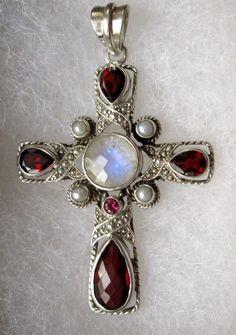 Nicky Butler Garnet, Moonstone, Pearl Cross Pendant