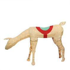 "44"" Pre-Lit Rustic Burlap Feeding Reindeer Christmas Yard Art Decoration"