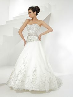 Ball Gown Strapless Embroidery Beading Organza Chapel Train Wedding Dress at Millybridal.com