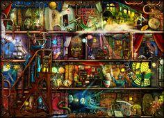 The Fantastic Voyage - a Steampunk Book Shelf Art Print by Aimee Stewart | Society6