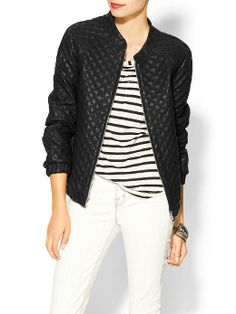 Sabine Quilted Vegan Leather Bomber Jacket | Piperlime