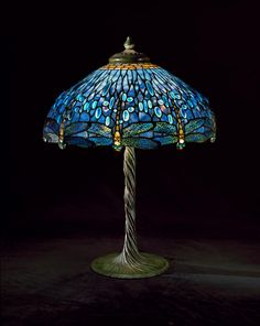 Awesome Tiffany Studios (New York) Dragonfly Library Lamp, Ca. Cast Bronze Gift Of  Walter P.