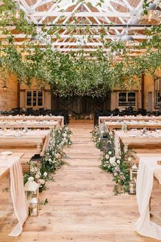 Indoor wedding ceremony decor - greenery ceremony decor with lanterns and wooden benches - Find a wedding venue in your city on WeddingWire! {Terrain Gardens} Rustic Garden Wedding, Cottage Wedding, Farm Wedding, Dream Wedding, Philadelphia Wedding Venues, Indoor Wedding Ceremonies, Ceremony Arch, Wedding Ceremony Decorations, Fantasy Wedding