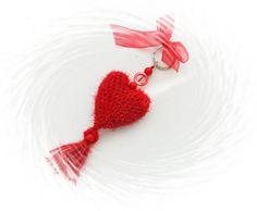 Crochet Keychain  Bag Charm  Crochet Red Heart  by CraftsbySigita