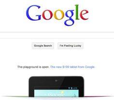 Google coloca anuncio do Nexus 7 na sua pagina inicial