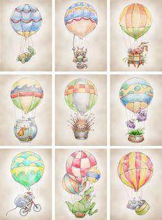 Hot Air Balloon Dinosaur print 8x10 by FlightsByNumber on Etsy, $20.00